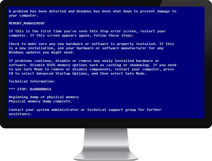 Blue screen of death png. Ways to fix