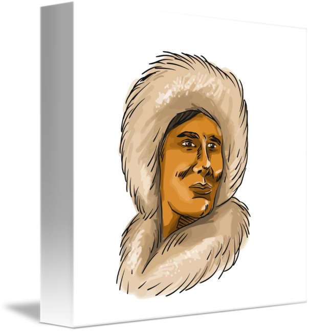 Eskimo drawing man. Inuit hooded parka watercolor