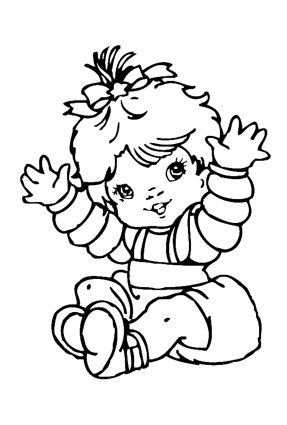 Eskimo drawing coloring page. Cute baby girl pages