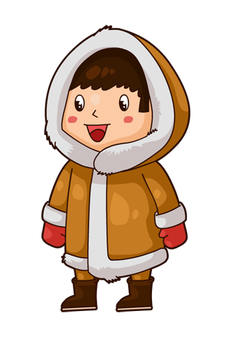 Eskimo drawing girl. Collection of clipart