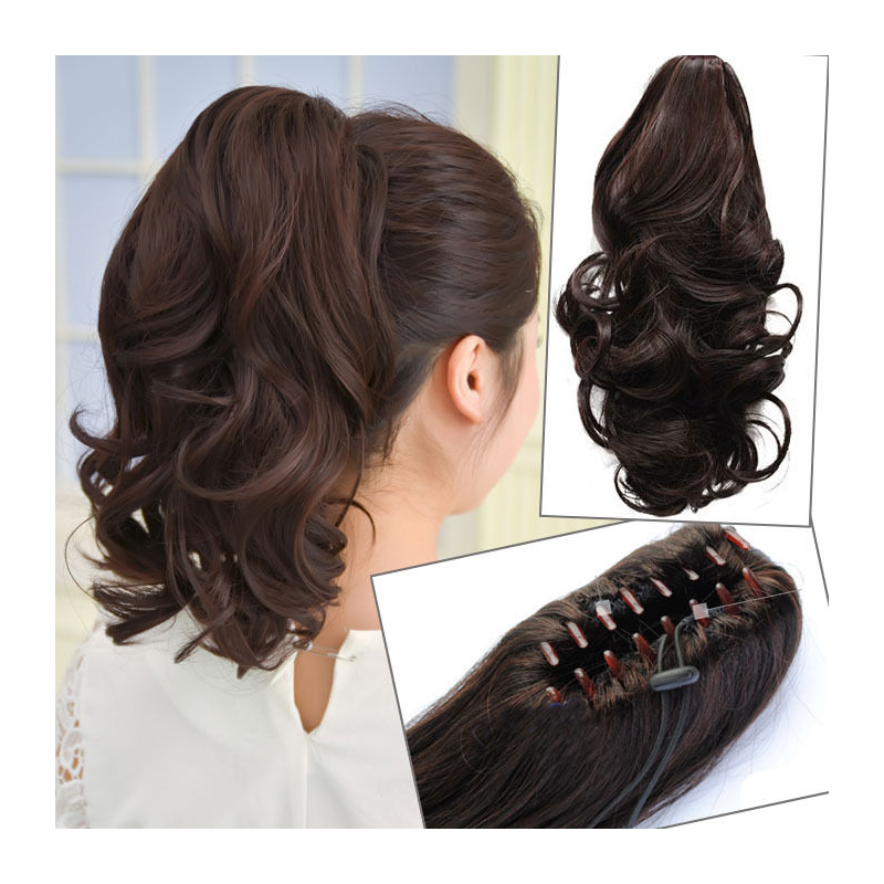 Wig clip ponytail. Longly curly black claw