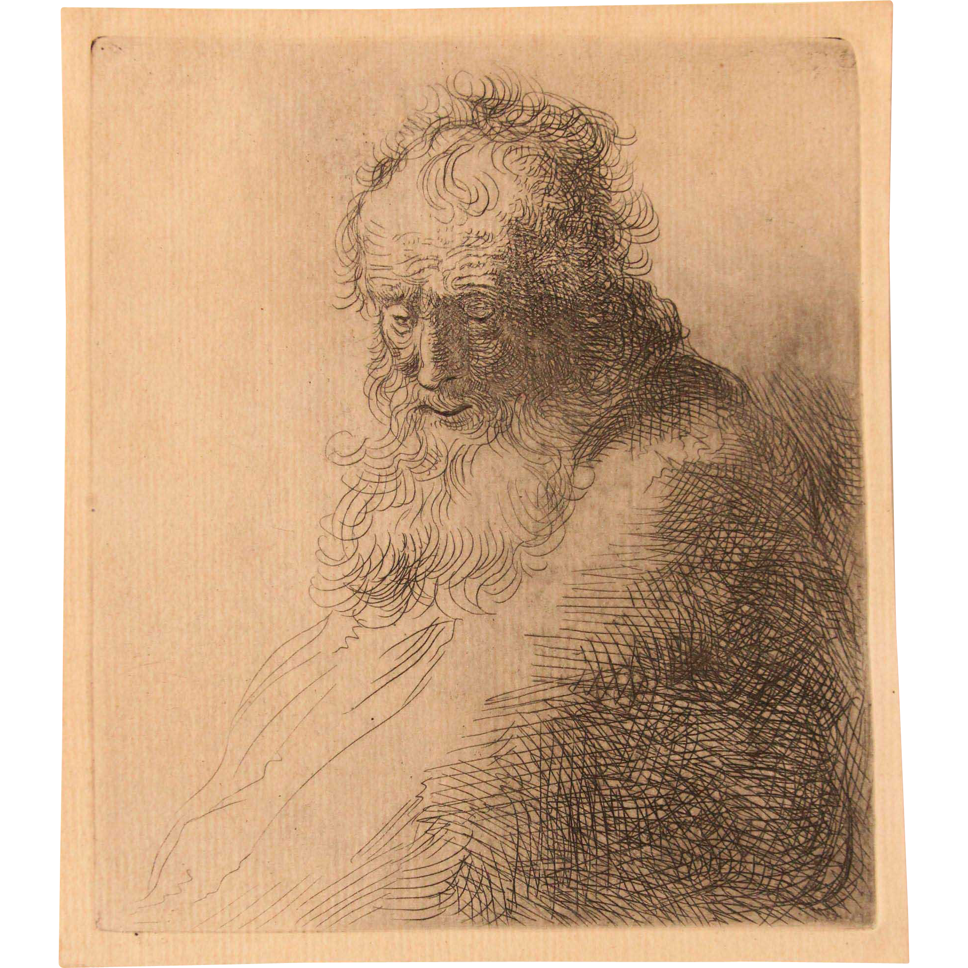 Masterpiece bearded old man. Etching drawing pen and ink banner