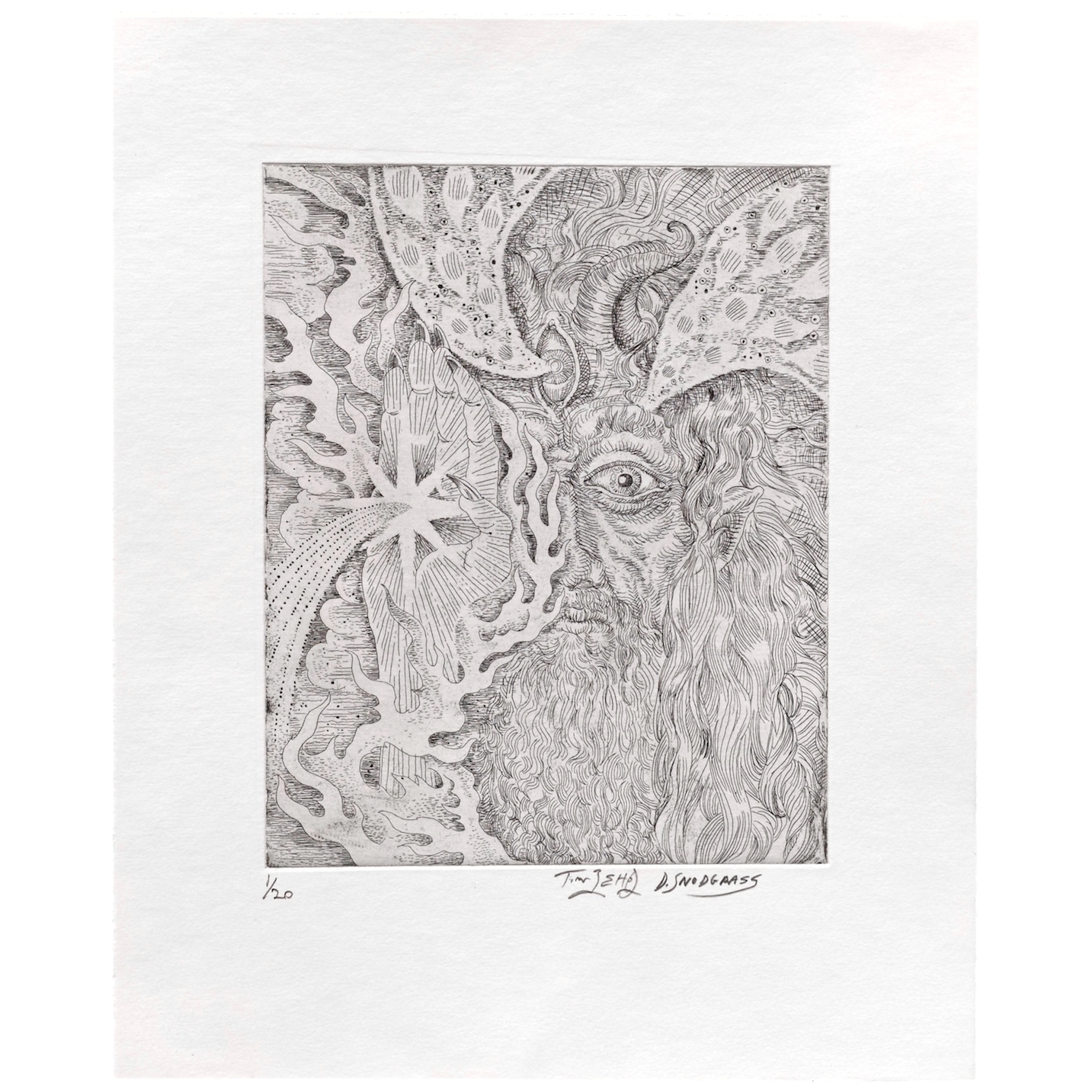 Etching drawing floral. Collaboration ii