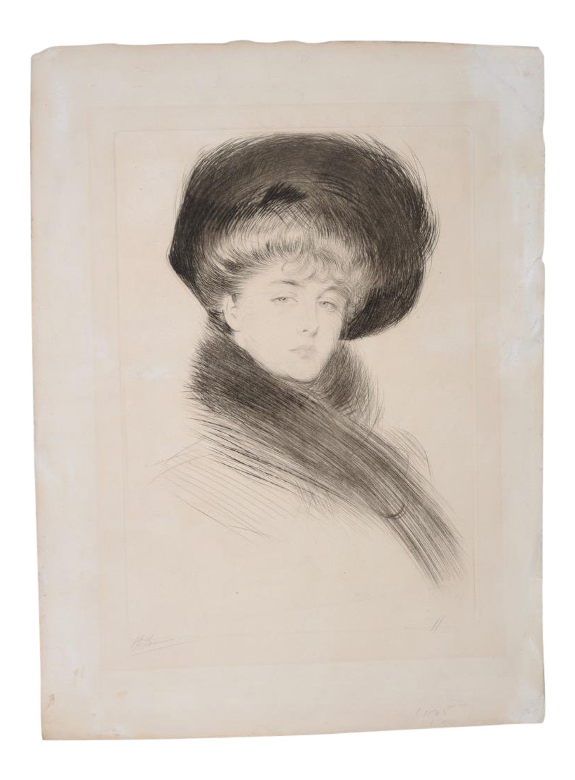Etching drawing illustration. Paul helleu french drypoint