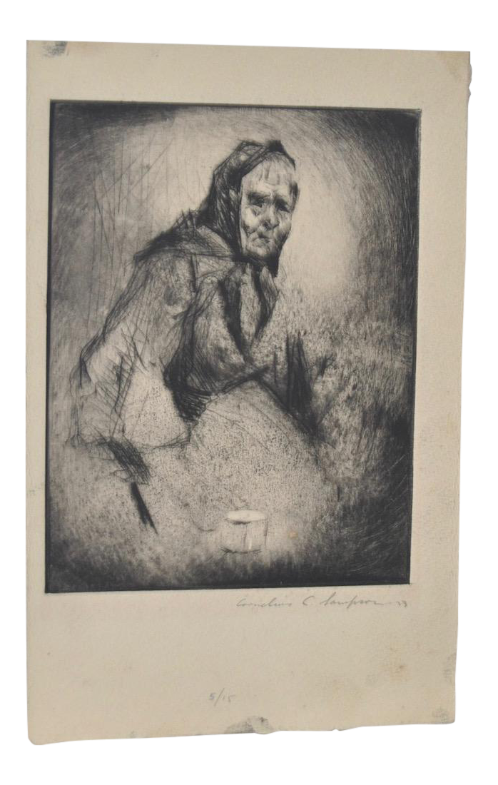 Etching drawing art. Circa old woman with