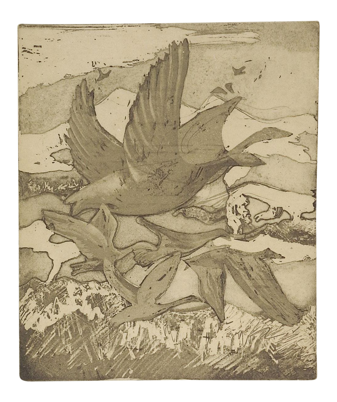 Etching drawing bird. Migrating geese abstract chairish