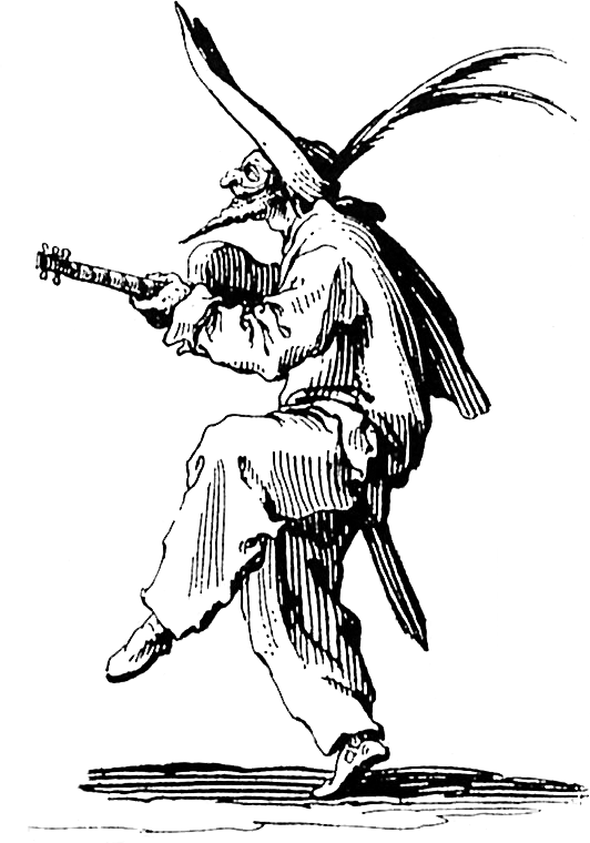 Occult drawing printmaking. Jacques callot grotesque musician