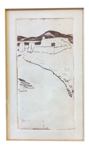Etching drawing drypoint. Taos nm print by