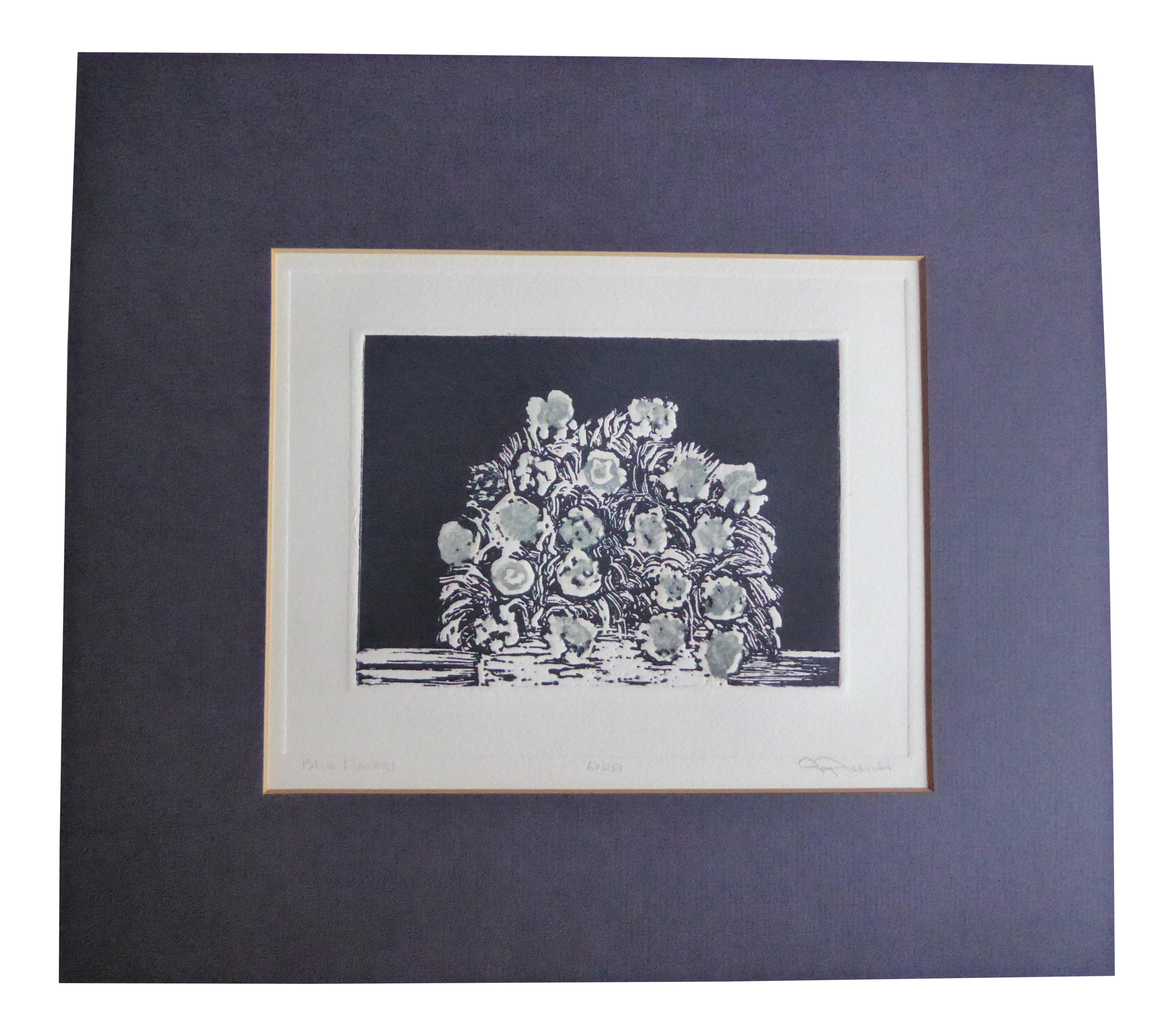 Etching drawing floral. Joy jerviss blue flowers