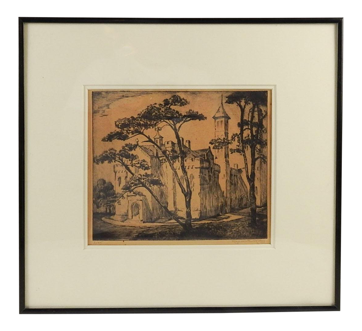 Etching drawing medieval. Castle by marguerite riley