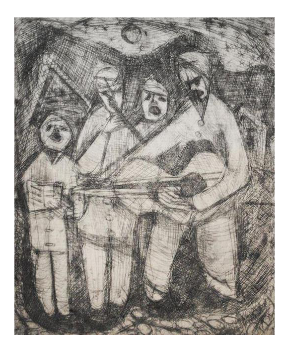 Etching drawing medieval. S by mark