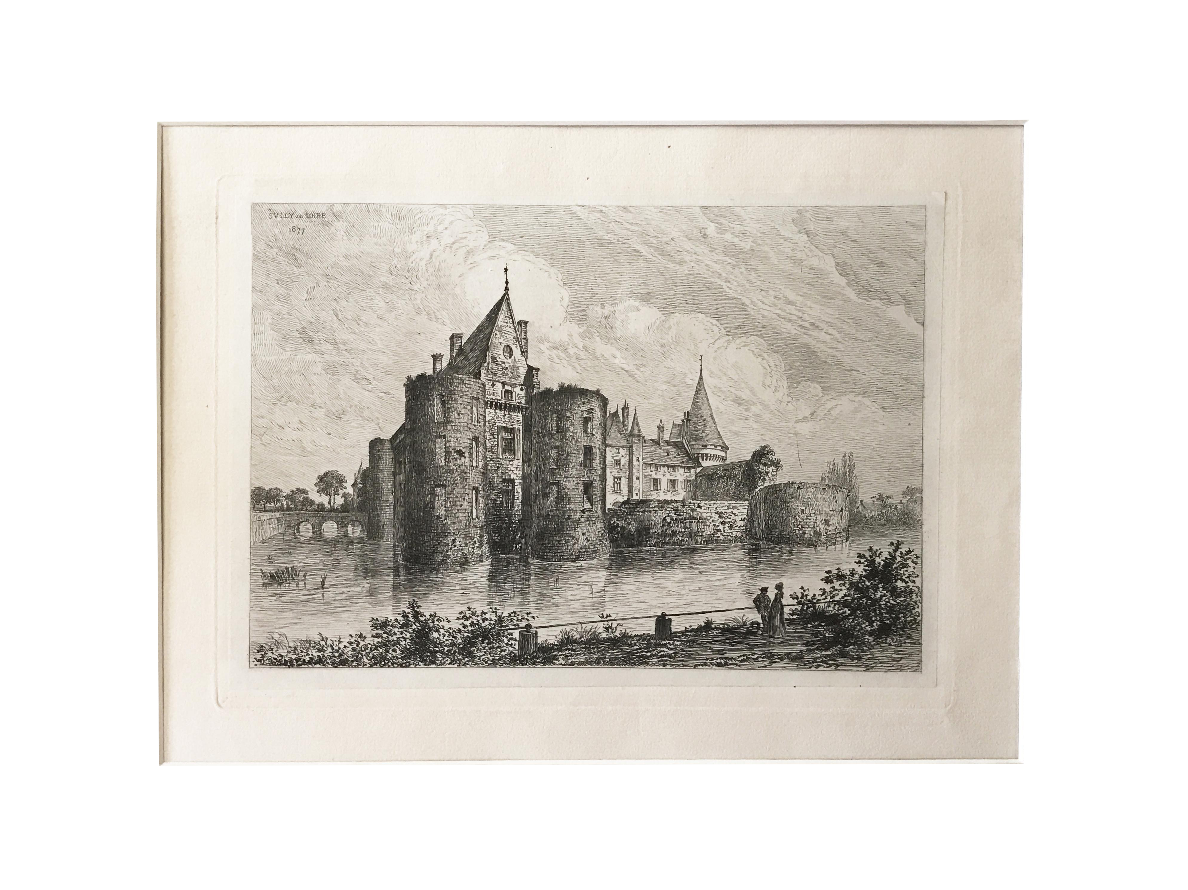 Etching drawing medieval. French chateau sully