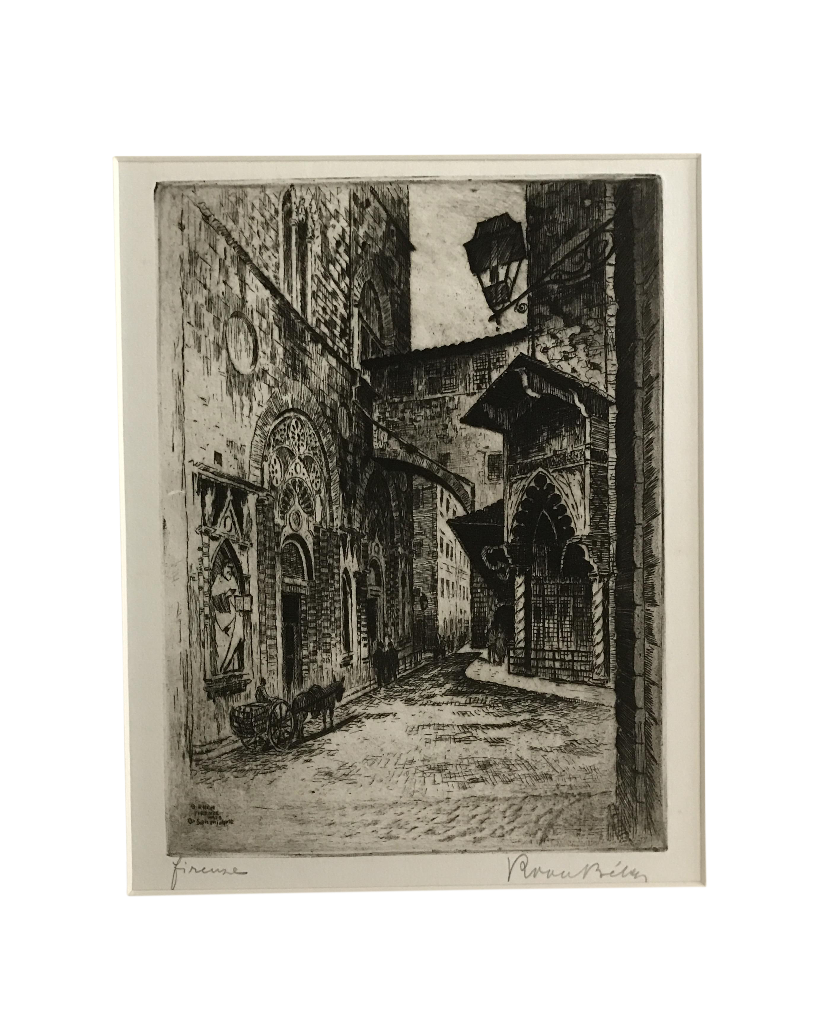 Etching drawing pen and ink. Vintage florence italy