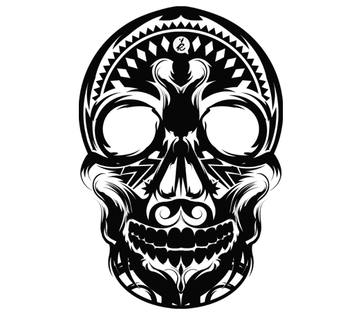 Etching drawing skull. Etch device laser engraving