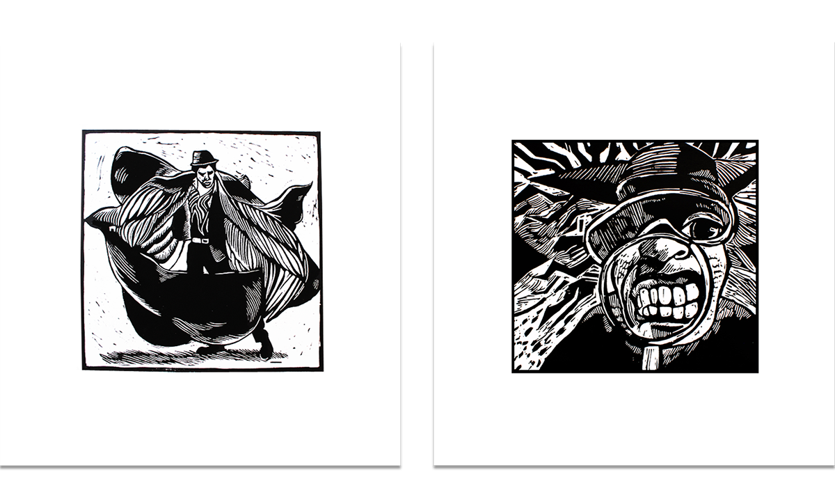 series of linocuts. Relief drawing printmaking graphic transparent library