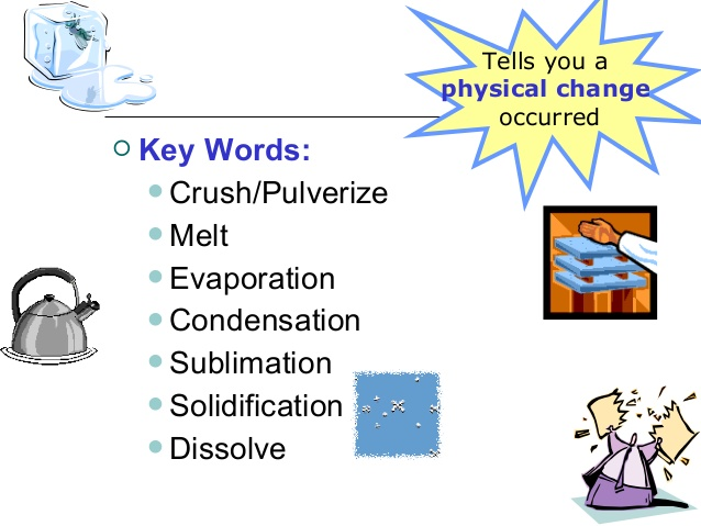 Evaporation clipart physical change. Se b chemical changes