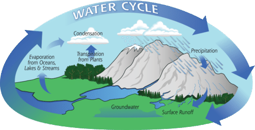 Evaporation drawing water pollution. The cycle read earth