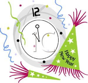 A clock at midnight. Year eve clipart vector black and white stock