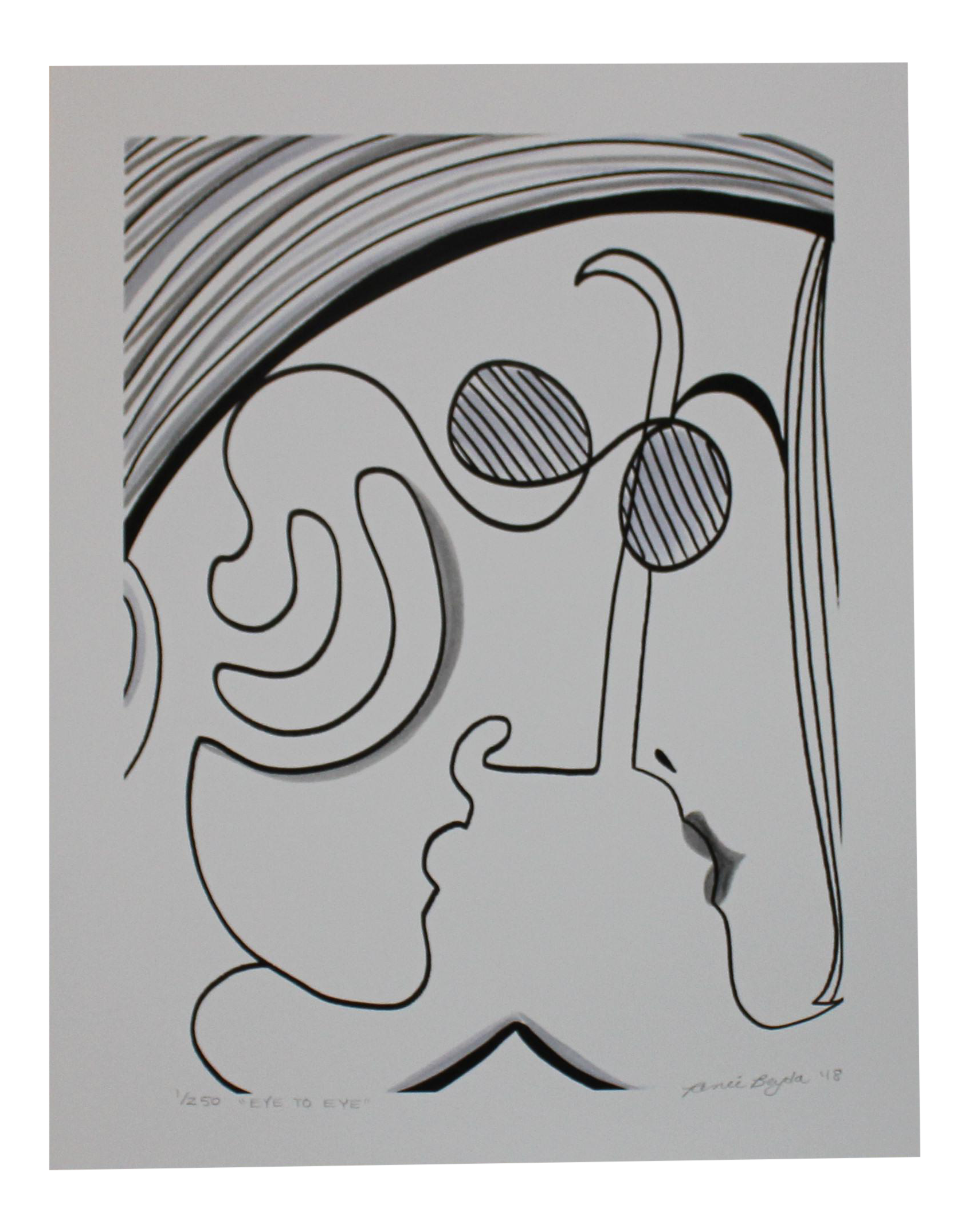 Eve drawing abstract. Black and white one