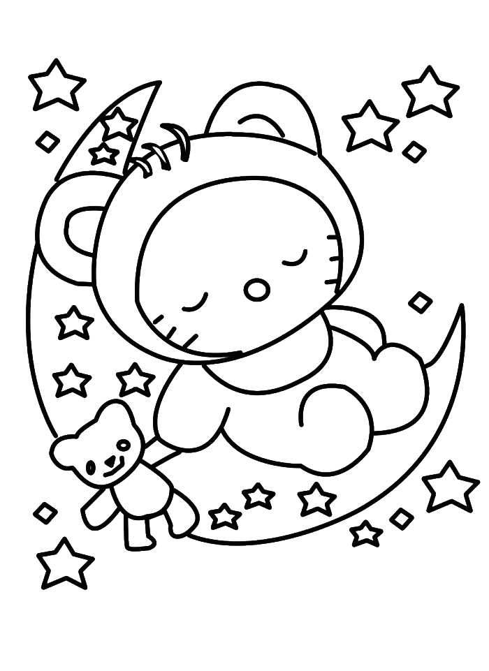 Eve drawing coloring page. Hello kitty sleeping in