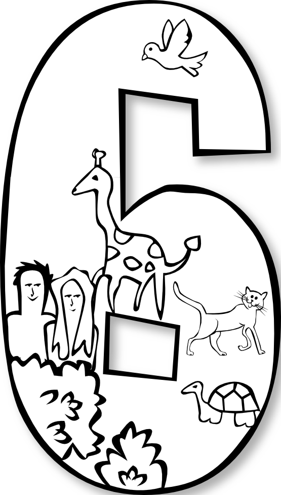 Creation clipart sixth day. Number ge black white