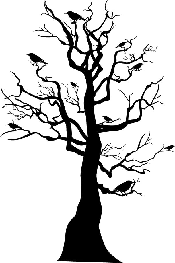 Eve drawing skeleton tree. Skull horror withered transprent