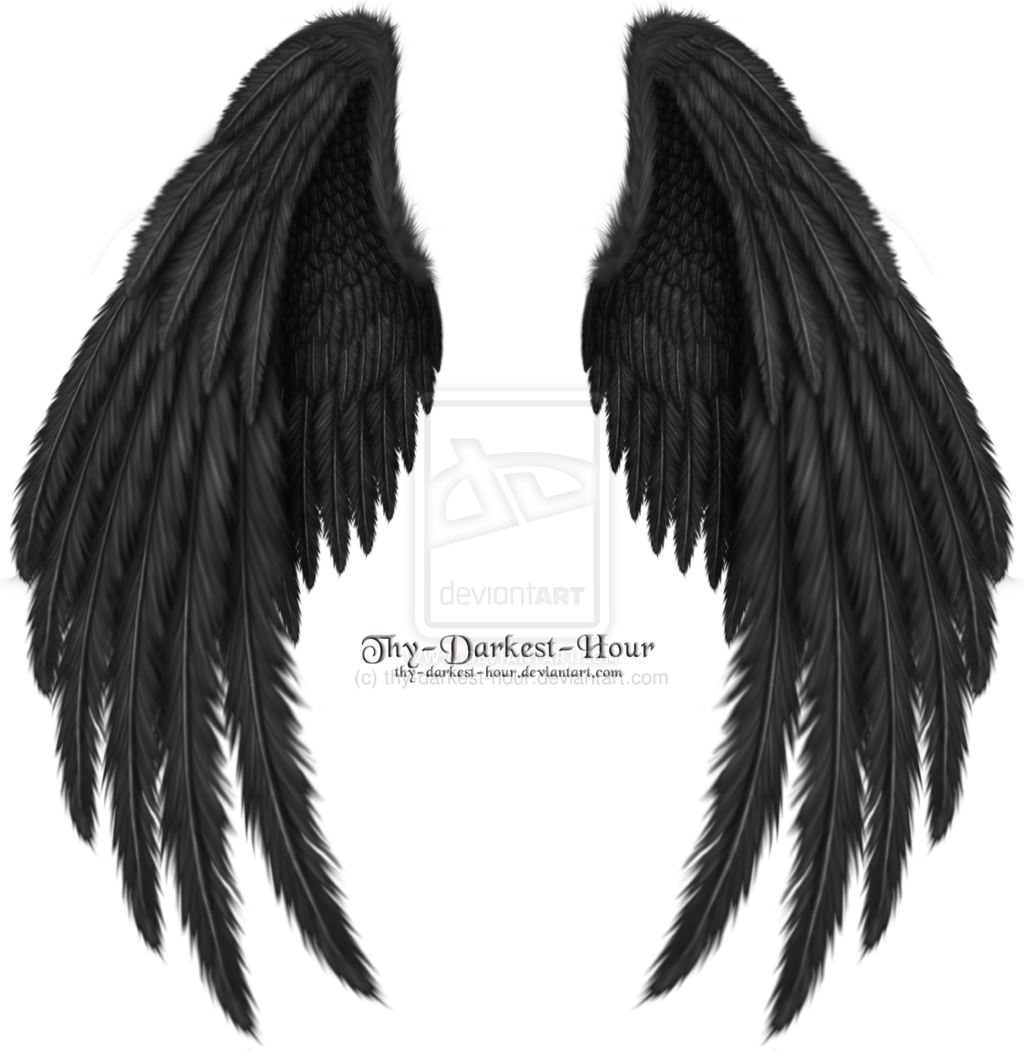 Even angels fall tattoo png. Black wings paint it