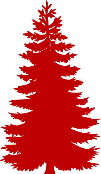 Red silhouette clip art. Evergreen clipart blue spruce picture transparent library