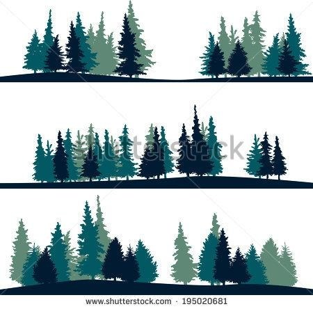 Evergreen clipart forrest tree. Silhouette at getdrawings com