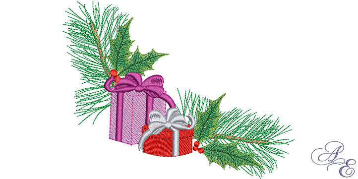 Evergreen clipart pine sprig. Gifts art of embroidery