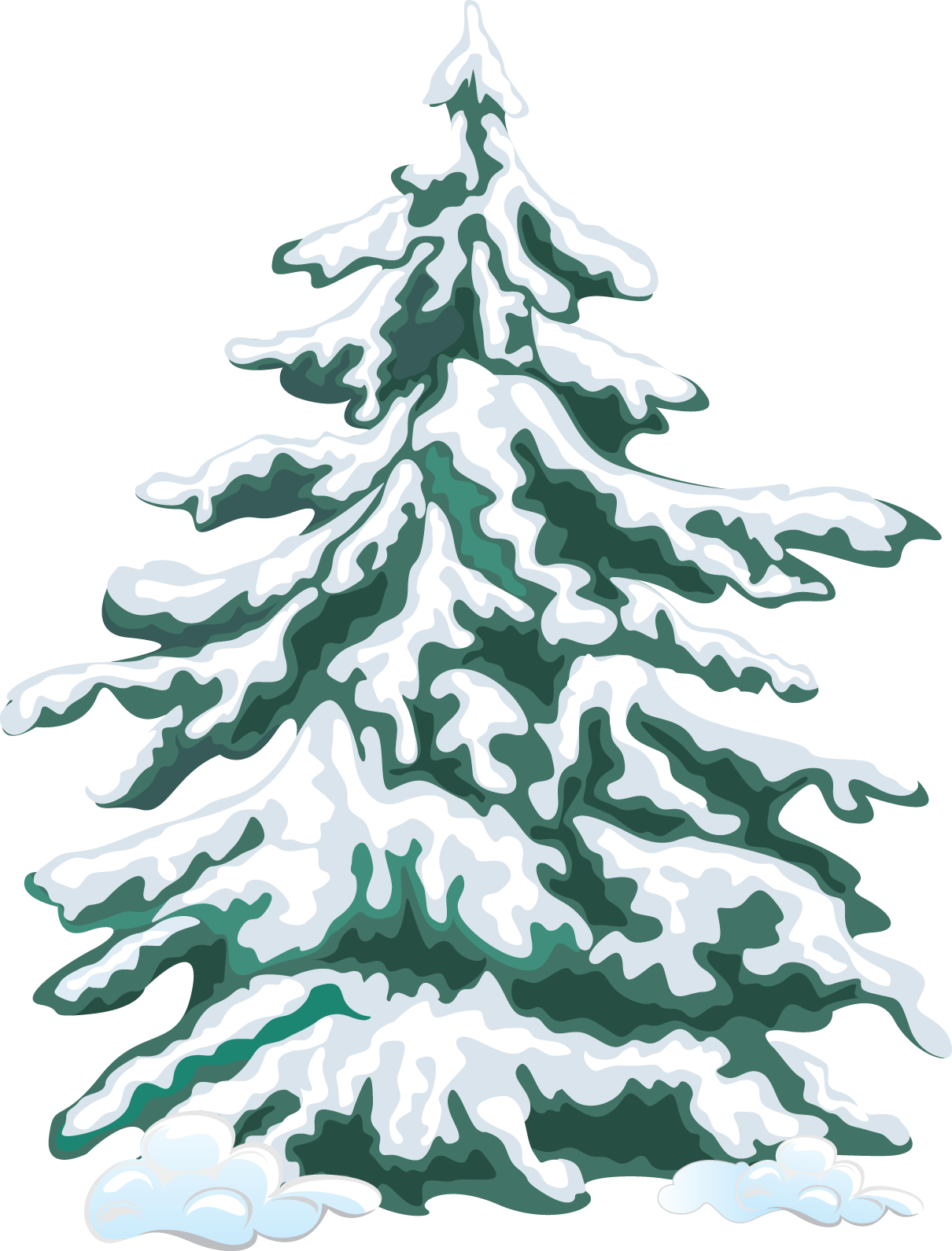 snow covered pine trees png