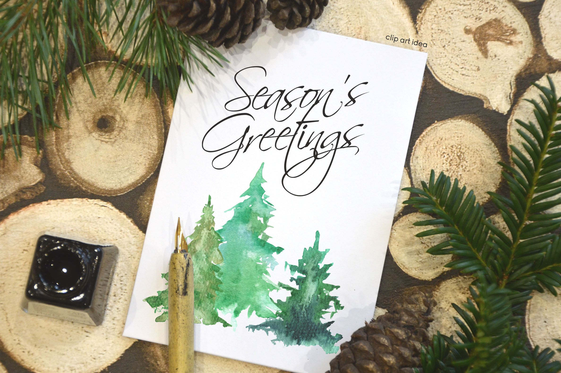 Evergreen clipart pine sprig. Christmas greenery wedding tree