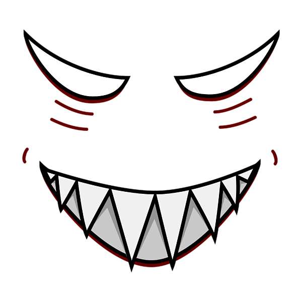 Evil cartoon face png. Eyes group grinning with