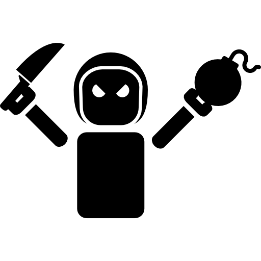 Evil robot png. Holding a knife and