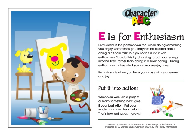 Excited clipart full energy. Character abc e is