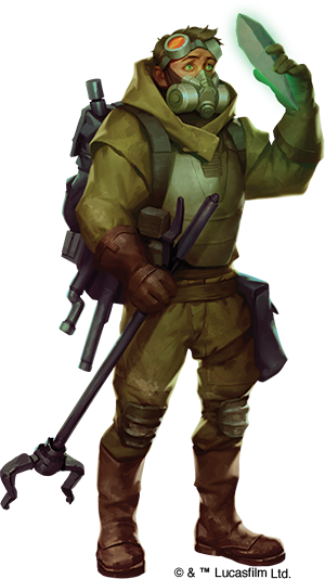 Executioner drawing miner. Sci fi holding a