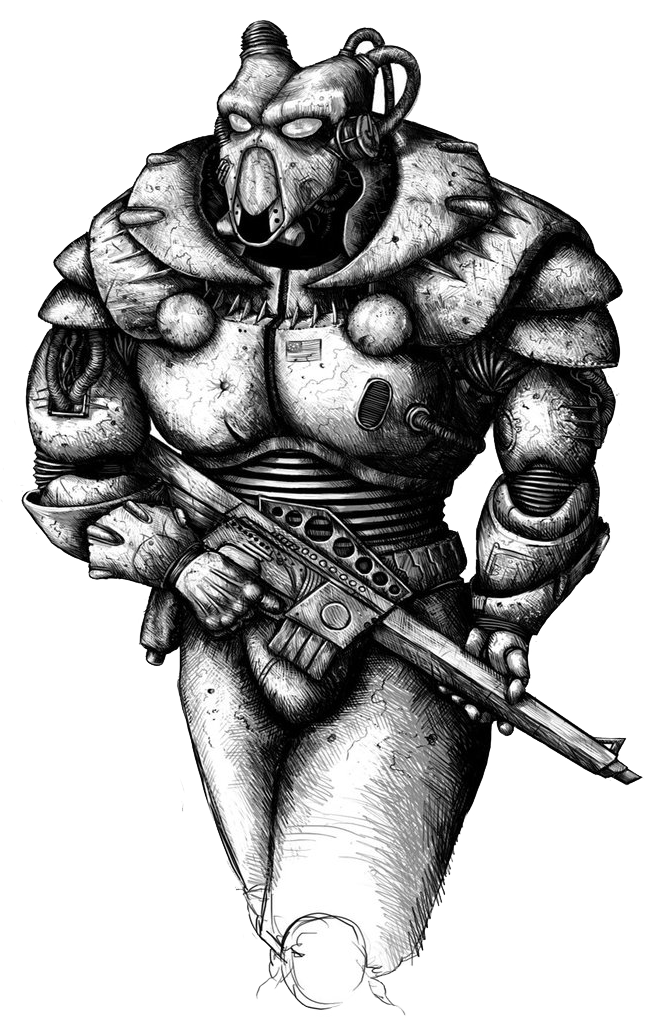 Executioner drawing muscle. Image enclave soldier by