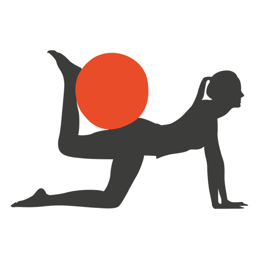 Abs vector female. Pilates exercise girl silhouette