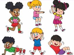 Exercising clipart. Kids exercises workout by