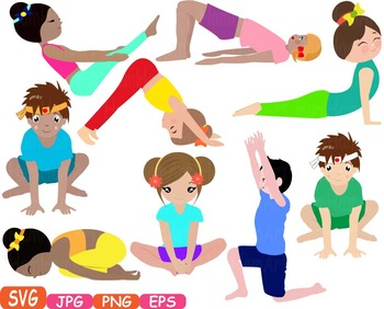 Exercising clipart yoga. Poses clip art silhouettes
