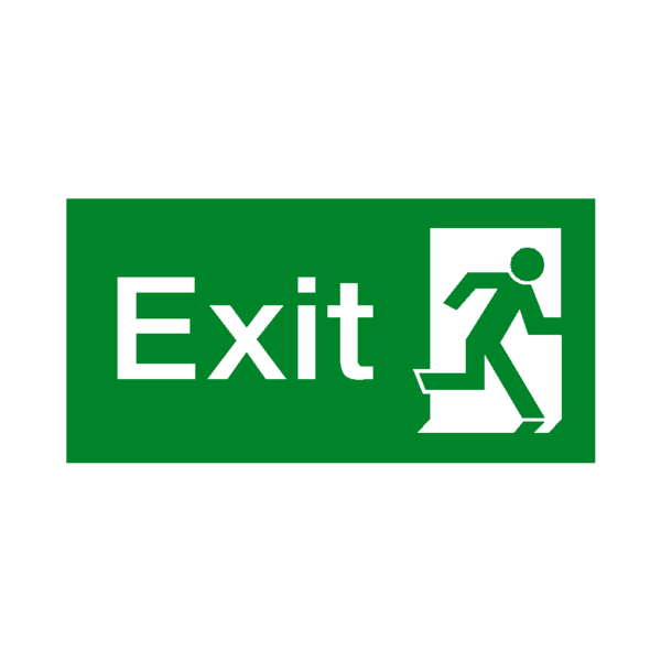Exit sign png. Right fire safety label