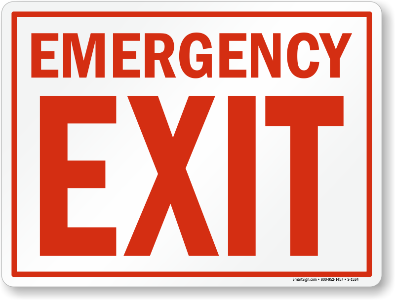 Exit sign png. Emergency signs fire and