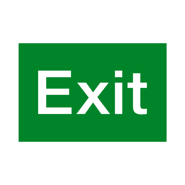 Exit sign png. Standard fire safety label