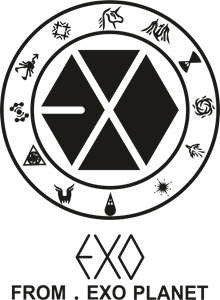 Exo from logo cdr. Vector planet svg black and white stock