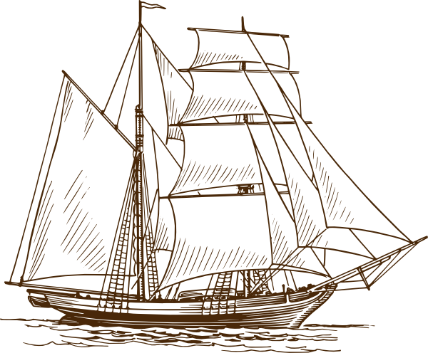 Schooner drawing sea. Sailing boat at getdrawings