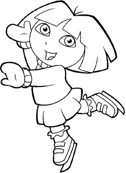Explorer drawing black and white. Dora the in snow