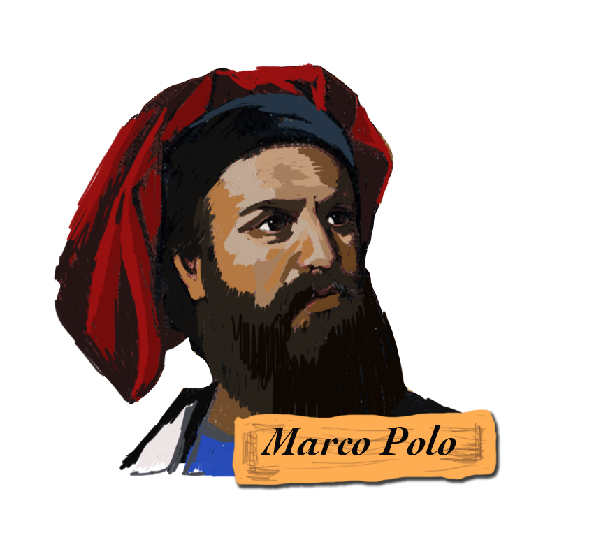 Explorer drawing male. Marco polo discovers n