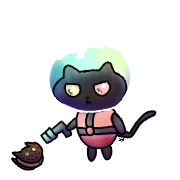 Explorer drawing space. Cookie cat by katastra