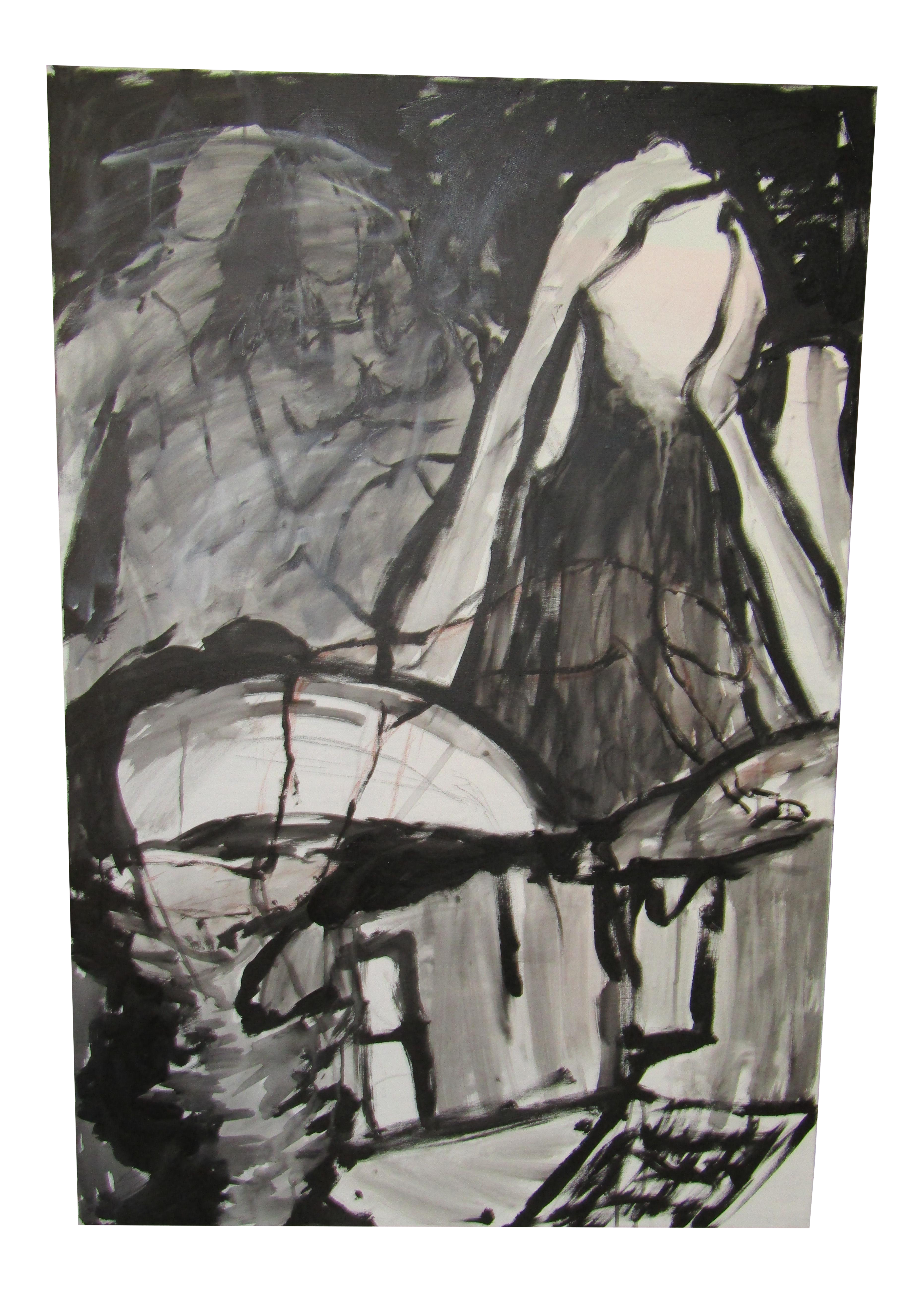 Expressionism drawing black and white. Abstract expressionist acrylic on