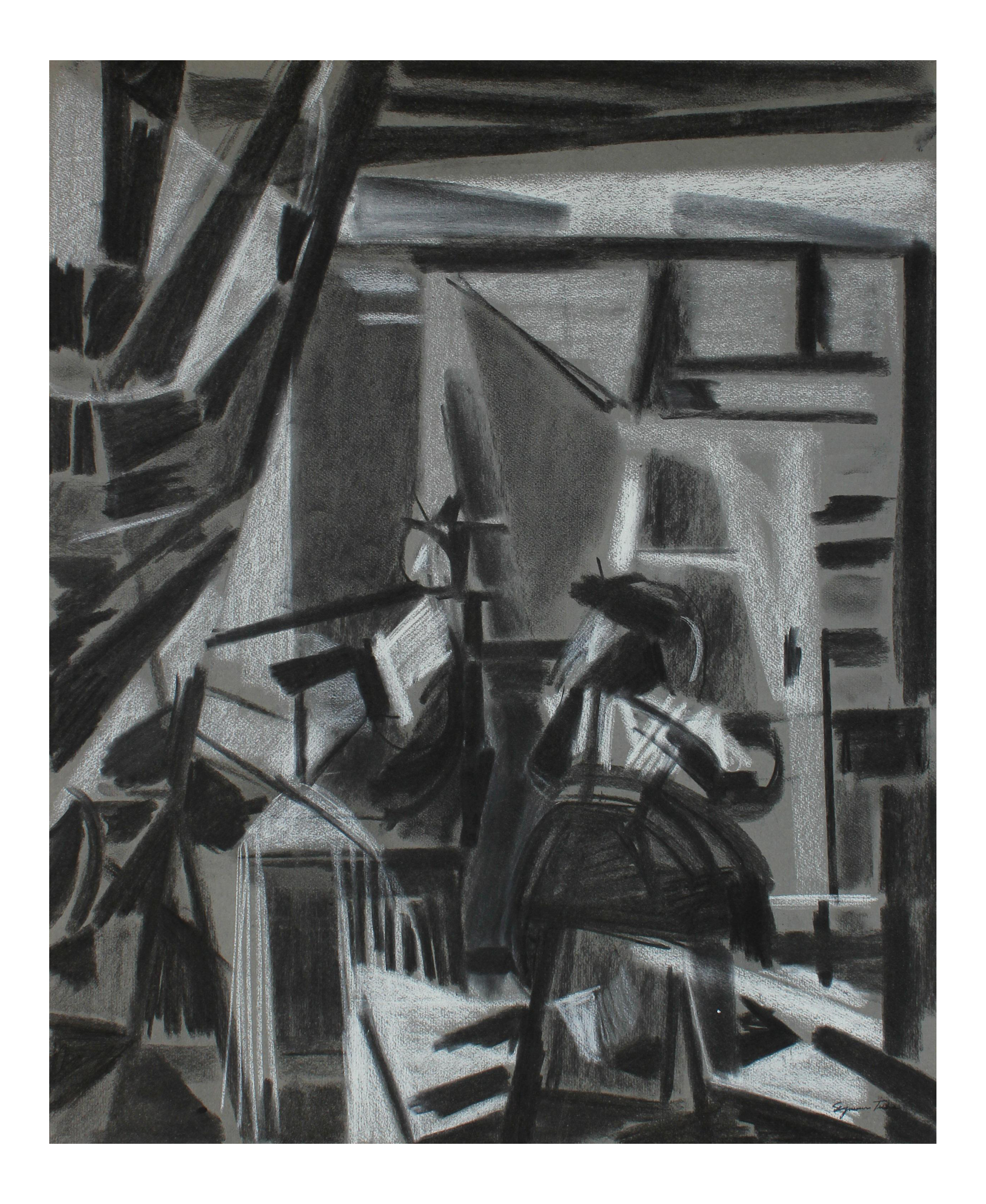 Expressionism drawing cubist. Luxury charcoal study of
